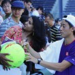 Professional tennis player Kei Nishikori signing autographs after practice for US Open 2014 — Foto Stock