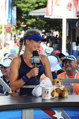 Professional tennis player Eugenie Bouchard during interview with Tennis Channel at US Open 2014 — Stock Photo