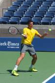 Professional tennis player Milos Raonic practices for US Open 2014 — Stock Photo