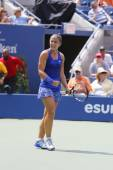 Professional tennis player Sara Errani celebrates victory after fourth round match at US Open 2014 — Stock Photo