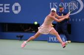 Professional tennis player Caroline Wozniacki during third round match at US Open 2014 — Stock Photo