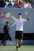 Grand Slam Champion Andy Murray celebrates victory after fourth round match at US Open 2014 — Stockfoto