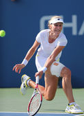 Professional tennis player  Ekaterina Makarova during fourth round match at US Open 2014 — Stock Photo