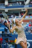 Professional tennis player Caroline Wozniacki during third round match at US Open 2014 against Mariya Sharapova — Stockfoto