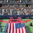 US Marine Corps unfurling American Flag  during the opening ceremony of the US Open 2014 women final — Stock Photo #53341011