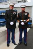 United States Marine officers at Billie Jean King National Tennis Center before unfurling the American flag prior US Open 2014 men final — Stok fotoğraf