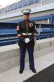 United States Marine officer at Billie Jean King National Tennis Center before unfurling the American flag prior US Open 2014 men final — Stock Photo