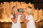 US Open 2014 women doubles champions Ekaterina Makarova and Elena Vesnina posing with US Open trophy at Billie Jean King National Tennis Center — Stok fotoğraf