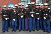 United States Marines at Billie Jean King National Tennis Center before unfurling the American flag prior US Open 2014 women final — Stockfoto