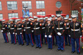 United States Marines at Billie Jean King National Tennis Center before unfurling the American flag prior US Open 2014 men final — Stok fotoğraf