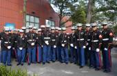 United States Marines at Billie Jean King National Tennis Center before unfurling the American flag prior US Open 2014 women final — Stok fotoğraf