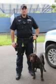 NYPD transit bureau K-9 police officer and Labrador K-9 Ellis providing security at National Tennis Center during US Open 2014 — Stock Photo