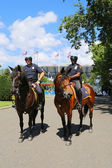 NYPD police officers on horseback ready to protect public at Billie Jean King National Tennis Center during US Open 2014 — Stock Photo