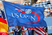 US Open flag during trophy presentation at Billie Jean King National Tennis Center — Stock Photo