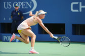 Professional tennis player Caroline Wozniacki during third round match at US Open 2014 against Mariya Sharapova — Stock Photo