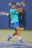 Grand Slam champion Roger Federer during third round match at US Open 2014 against Marcel Granollers — Stock Photo