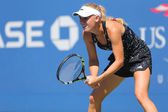 Professional tennis player Caroline Wozniacki practices for US Open 2014 — Foto de Stock