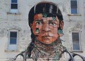 Mural art in at East Williamsburg in Brooklyn — Stock Photo