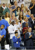 Michael Jordan attends first round match between Roger Federer of Switzerland and Marinko Matosevic of Australia at US Open 2014 — Stock Photo
