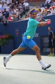 Seventeen times Grand Slam champion Roger Federer during semifinal match at US Open 2014 — Stock Photo