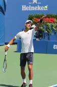 Six times Grand Slam champion Novak Djokovic practices for US Open 2014 — Stok fotoğraf