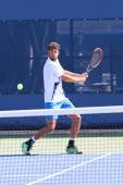 Professional tennis player Robin Haase practices for US Open 2014 — Stok fotoğraf