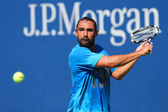 Professional tennis player Marcos Baghdatis from Cyprus practices for US Open 2014 — Foto de Stock