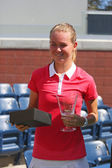 US Open 2014 girls junior champion Marie Bouzkova from Czech Republic during trophy presentation — Stock Photo