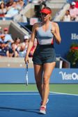 Five times Grand Slam champion Mariya Sharapova during third round match at US Open 2014 against Caroline Wozniacki — Stok fotoğraf