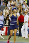 Professional tennis player Eugenie Bouchard celebrates victory after third round march at US Open 2014 — Stok fotoğraf