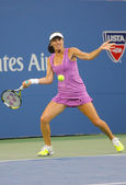 Five times Grand Slam champion Martina Hingis during final doubles match at US Open 2014 — Stock Photo