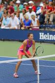 Professional tennis player Jelena Jankovic during second round doubles match at US Open 2014 — Stok fotoğraf