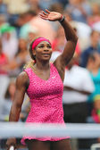 Grand Slam champion Serena Williams celebrates victory after fourth round match at US Open 2014 — Stockfoto