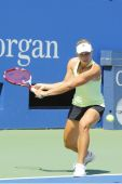 Professional tennis player Angelique Kerber from Germany practices for US Open 2014 at Billie Jean King National Tennis Center — Foto Stock