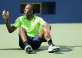 Professional tennis player Gael Monfis practices for US Open 2014 at Billie Jean King National Tennis Center — 图库照片