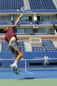 Two times Grand Slam Champion Lleyton Hewitt and professional tennis player Tomas Berdych practice for US Open 2014 — Foto Stock