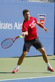 Grand Slam Champion Stanislas Wawrinka practices for US Open 2014 at Billie Jean King National Tennis Center — 图库照片