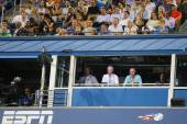 ESPN analysts John McEnroe and Patrick McEnroe comment match at US Open 2014 — Stok fotoğraf
