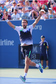 Professional tennis player Marin Cilic celebrates victory after US Open 2014 quarterfinal match — Stock Photo