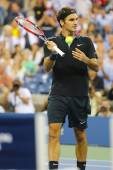 Seventeen times Grand Slam champion Roger Federer during  quarterfinal match at US Open 2014 — Stock Photo