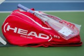 Customized Head tennis bag and Head tennis racket during US Open 2014 — Stock Photo