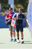 Seventeen times Grand Slam champion Roger Federer after practice for US Open 2014 — Stok fotoğraf