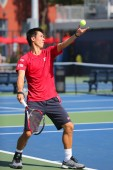 Professional tennis player Kei Nishikori practices for US Open 2014 — Stock Photo