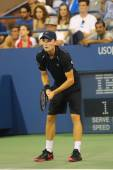 Professional tennis player David Goffin during US Open 2014 third round match — ストック写真