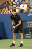 Professional tennis player David Goffin during US Open 2014 third round match — 图库照片