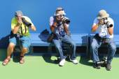 Professional photographers at US Open 2014 at Billie Jean King National Tennis Center — Foto Stock