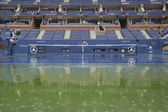 Rain delay during US Open 2014 at Arthur Ashe Stadium at Billie Jean King National Tennis Center — Stock Photo