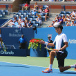 Grand Slam champions Mike and Bob Bryan during US Open 2014 semifinal doubles match at Billie Jean King National Tennis Center — Stock Photo #57786391