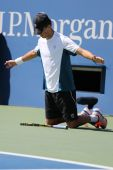 Grand Slam champion Mike Bryan during US Open 2014 semifinal doubles match at Billie Jean King National Tennis Center — Foto Stock