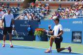 Grand Slam champions Mike and Bob Bryan during US Open 2014 semifinal doubles match at Billie Jean King National Tennis Center — ストック写真